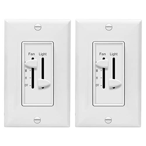 ENERLITES 3 Speed Ceiling Fan Control and Dimmer Light Switch, 2.5A Single Pole Light Fan Switch, 300W Incandescent Load, No Neutral Wire Required, 17001-F3-W, White, 2 Pack