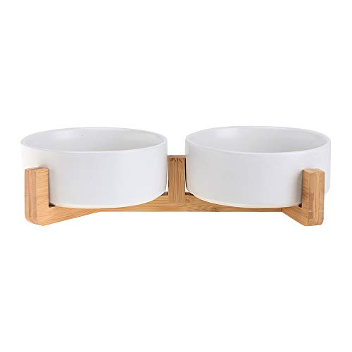 HCHLQLZ Weiß Keramik Hundenapf Futternapf Fressnapf Napf für Hund Katzen mit Massivholz Ständer (2 Stück)