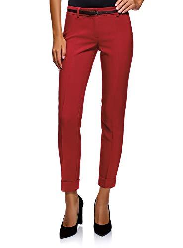 oodji Ultra Damen Hose mit Aufschlägen und Gürtel, Rot, DE 42 / EU 44 / XL