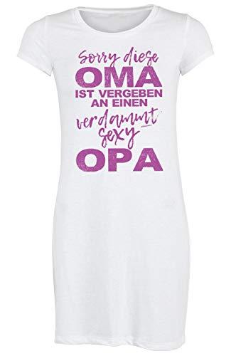 Oma Schlafanzug Pyjama Weihnachten Nachtwäsche Großmutter Motiv Nachthemd Damen Oma ist vergeben an einen verdammt sexy Opa Geschenkidee für Frauen