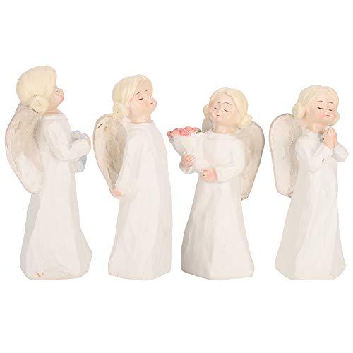 Scultura di bellezza bianca in resina Statua Figura, 4 pezzi Ornamento di angelo Resina Ragazze scolpite a mano Figura dipinta a mano Intaglio da tavolo Regalo artigianale per bar Caffetteria Ornament