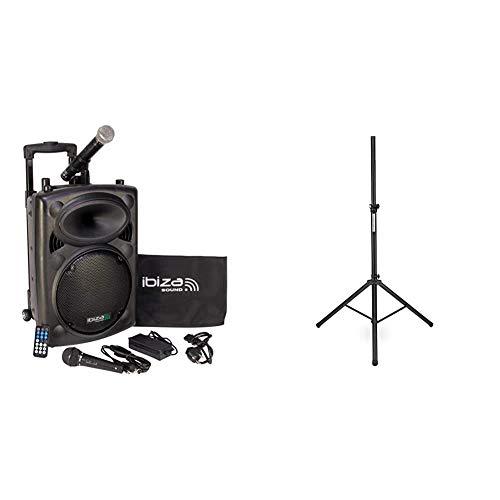 Ibiza Sound PORT10VHF-BT Sistema de sonido portátil y autónomo de 10'/25 cm, 500 W, color negro + Pronomic 16445Soporte de caja de aluminio