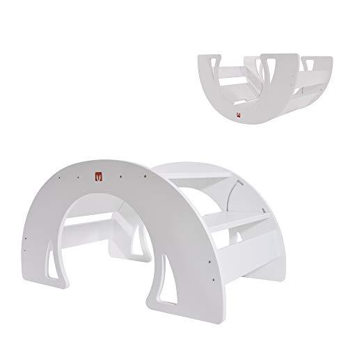 Bianconiglio Kids ® DONDO Rocker Table Bianco, Tavolo Multifunzione Bambini, Rocker Board e Ponte Pikler