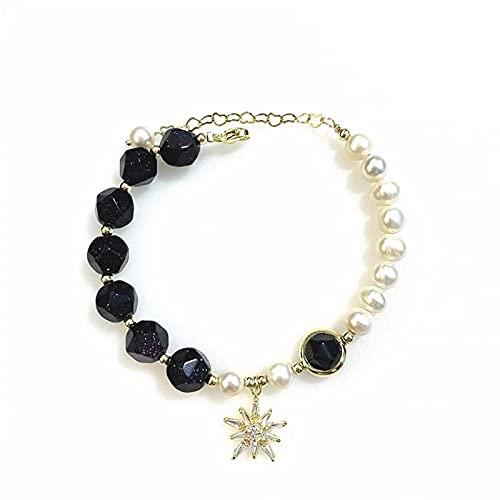 Pulsera de piedra áspera de perlas de agua dulce Pulsera de cristal multifacético de piedra arenisca azul estrellada de oro real de 14 quilates para mujer