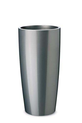 Floralo Teramo hoch Übertopf 25cm Durchmesser x 52cm hoch anthrazit metallic, hochglänzend, mit herausnehmbarem Topfeinsatz, silber, grau