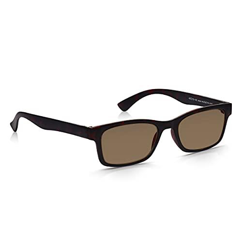 Read Optics Lesebrille/Sonnenbrille: Herren/Damen UV-Schutz Lesehilfe in braunem Schildpatt. Qualitäts-Gläser mit Stärke +2,0 Dioptrien, verfügbar auch in +1,0 bis +3,5. Aus bruchsicherem Polykarbonat