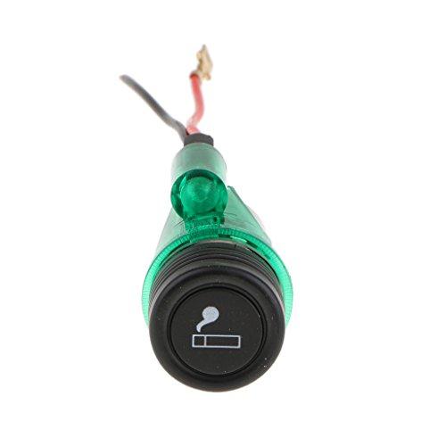 Toygogo Enchufe de Alimentación de 12V para Encendedor de Cigarrillos de Coche con Diámetro de Luz 28 Mm - Verde