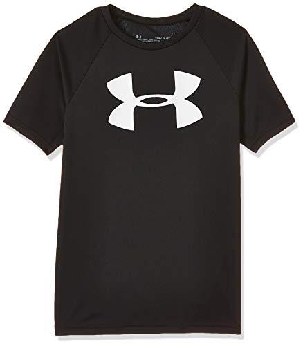 Under Armour Boys' Tech Big Logo Short Sleeve Gym T-Shirt , Black (001)/White , Youth Large