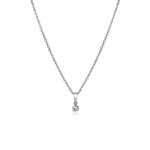 Diamant Anhänger Gold 750 Weißgold 18 Karat Solitär mit Kette Damen Collier 0,10ct+Zertifikat 45cm