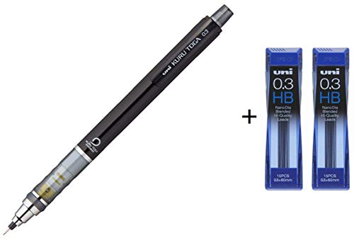Uni Kurutoga Mechanical Pencil Standard 0.3mm Black (M34501P.24)+ Uni NanoDia Mechanical Pencil 0.3 mm Lead HB x 2 Set