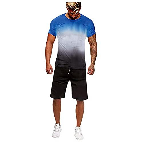 Conjunto de chándal para hombre, 2 unidades, para verano, tiempo libre, camiseta y pantalón deportivo con bolsillos, para hombre, para fútbol, deporte y tiempo libre Blue A. XL