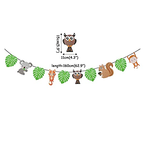 JSJJAEA Suministros para la Fiesta Baby Shower Forest Animal Party Fiesta Salvaje Una Fiesta de cumpleaños, Vajilla Decoraciones Woodland Amigos Foil Balloons Fiesta Única (Color : 1set Banner)