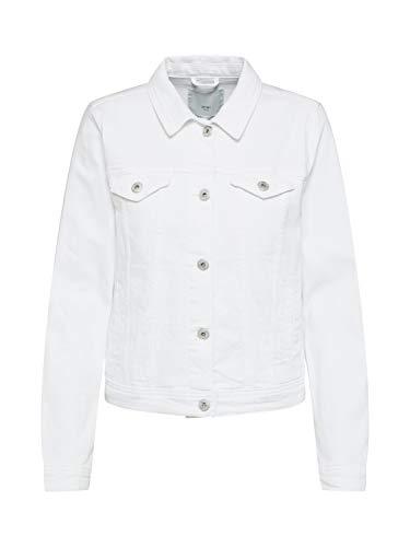 ICHI Damen IHGUSTO JA WHITE Jeansjacke, Weiß 10100, Small (Herstellergröße: 36)