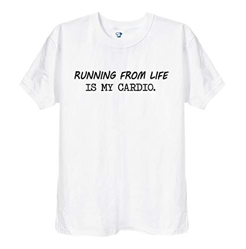 TrendySnug Tees Running from Life is My Cardio Funny Fitness Gym Camiseta para hombre y mujer, unisex, color blanco o negro 275 Blanco blanco S