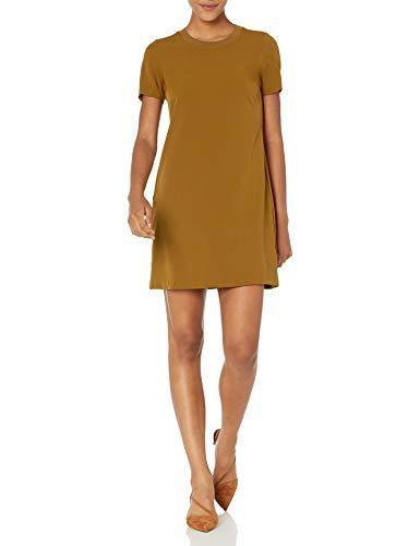 Lark & Ro Women's Florence Short Sleeve Sweater Trim Dress, TAPENADE, 12