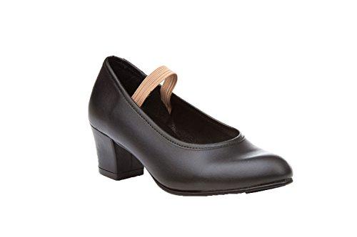 ANGELITOS Zapatos Sevillana Profesional Piel Negro Punta Tacón Metálicos, Mod.303, Calzado Made In Spain. (39)