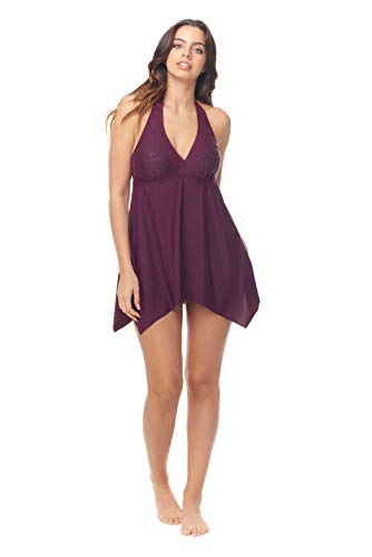 Love My Curves Burgundy Handkerchief Beaded Flowy One Piece Swim Dress (Size 16)