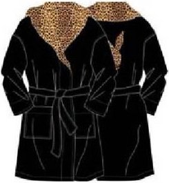Playboy Bademantel Größe XL # mit Bunny auf dem Rücken # schwarz # mit Leopardenoptik am Kragen  # extra großer Playboy-Bademantel