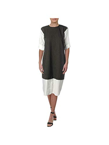 DKNY Womens Black Color Block Short Sleeve Jewel Neck Midi Shift Dress Size XS