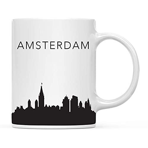 Taza de café Recuerdo de viaje turístico Taza de café Regalo Amsterdam Países Bajos Skyline Navidad Cumpleaños Mudanza Estudiar en el extranjero Graduación Bon Voyage Incluye caja de regalo Regalos pa
