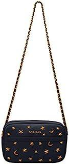 c07565e0b5 Mia Bag - Tracollina in pelle con zip e borchie stelle e luna 19107 (nero