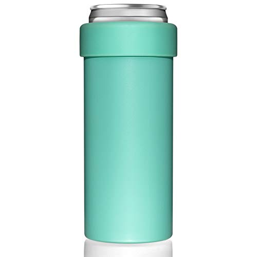 Vacuum Insulated Can Cooler for 12 OZ Slim Cans, Double walled Stainless Steel Beer/Soda/Beverage/Energy Drink Skinny Bottle Cans Keeper (Aqua)