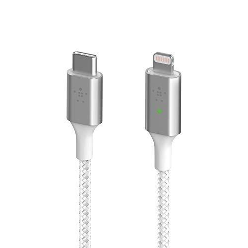 Belkin Smart LED Charging Cable USB-a to Lightning 4ft/1.2m (See Your Charging Status at a Glance) Fast Charge Ready for Latest iPhones, AirPods and iPad, MFi-Certified, White (CAA006bt)