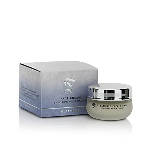 GLEAMRISE FACE CREAM - Gesichtscreme für Tag und Nacht, mit reiner Hyaluronsäure mit 3 Molekulargewichten und hydrolysiertem Kollagen, Anti-Aging - Natürliche Kosmetik -...