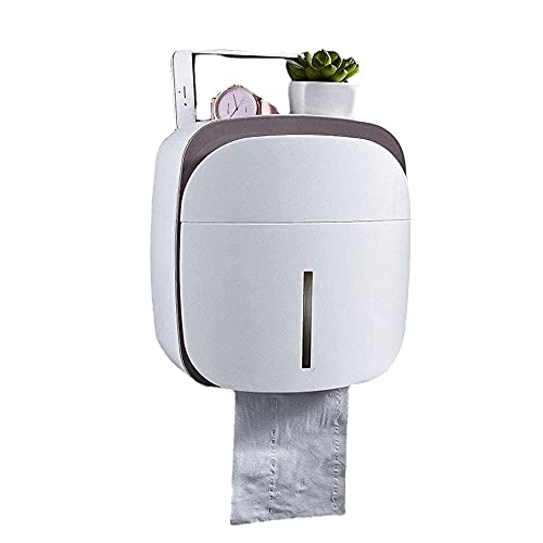 BZM Caja de pañuelos de baño impermeable de pared con soporte para teléfono móvil, adhesivos antihuellas, porta papel higiénico autoadhesivo sin perforaciones (marrón)