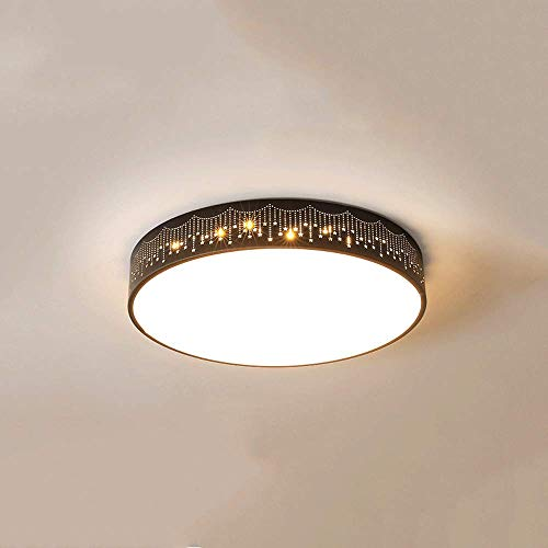 LPFWSK Creative Hollow Meteor Pattern Ceiling Lamp Color Temperature Adjustable LED Light Simple And Modern Style Round Ceiling Lamp Suitable For Restaurants Kitchens Balconies Corridors
