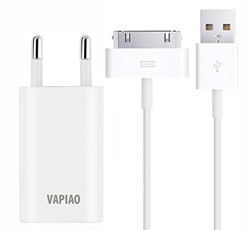 VAPIAO 30 poliges Ladeset 2 Meter [USB Ladekabel und 1A Netzteil] kompatibel mit iPhone 4, 4s, 3g, 3gs, iPod, iPad in weiß