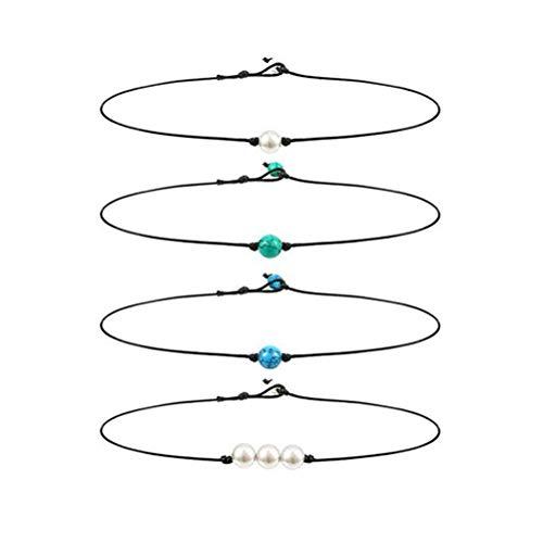TENDYCOCO 4 unids Collar de cordón de Cuero de Perla única Collar de Perla Chocker Cuerda de Cuero Collares calzas Joyas para Mujeres niñas