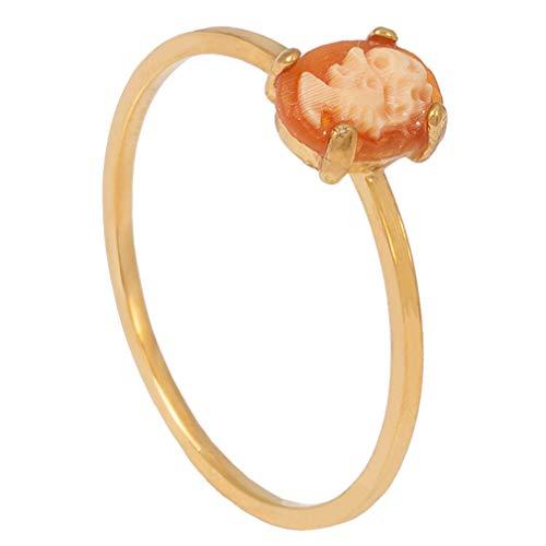 Charlotte Wooning Ring Damen Gold Persephone Goldener Ring Frauen mit Gemme 925 Silber vergoldet Größe 52 WOO-RPEg-52