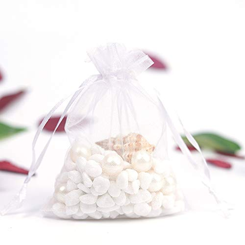 CZSM 100 Stücke Organza Taschen Kordelzug Beutel Hochzeitsfestbevorzugung Geschenk Tasche Schmuck Uhr Weihnachten Süßigkeiten Taschen,Weiß,20x30cm