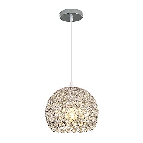 Lámpara de Cristal Techo Lamparas Techo Modernas Con 120CM Cable Ajustable E27 Cromado Lampara Salon Adecuado para Cocina, Dormitorio, Sala de Estudio, Sala de Estar (No Incluye Bombilla)