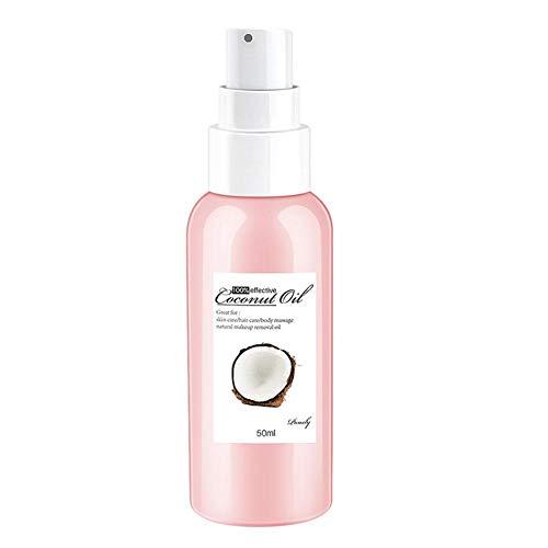 QUUY Aceite de Coco, Aceite Corporal Aceite de Coco orgánico para la Crema hidratante de la Piel y acondicionador para el Cabello Removedor de Maquillaje Natural Aceite 50 ml
