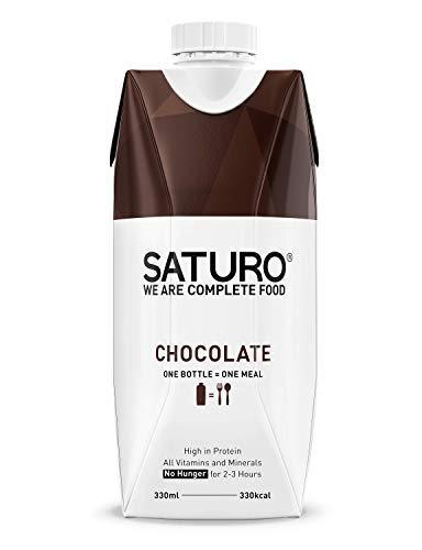 Sostituto Pasto Dimagrante SATURO, Cioccolato, Con il Giusto Apporto di Proteine, Fibre, Vitamine e Minerali, Senza Glutine & Senza Lattosio, 8 x 330 ml
