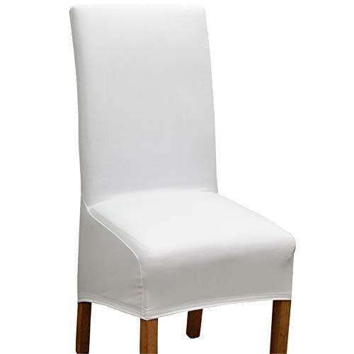 Stuhlhussen Wasserdicht, Stretch Stuhl Abdeckungen for Esszimmerstühle Stuhl, Barhocker-Schonbezüge Mit Drehstuhl Rückenlehnenbezug (Weiß,6×XL)