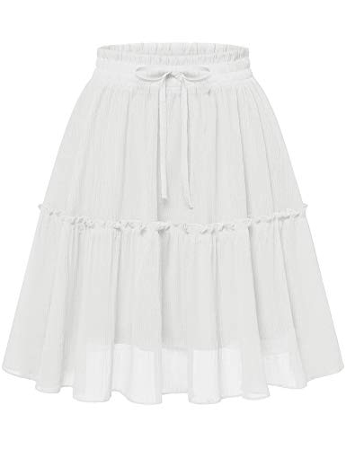 Bbonlinedress Damen Rock Röcke Sommerrock Minirock Basic Solide Kurz Röcke Skirts im Sommer White XL