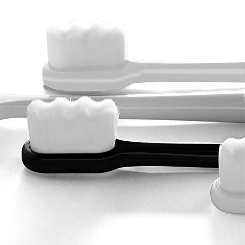 Extra Soft Toothbrush for Sensitive Gums, Manual Toothbrush with 8 Tubes of 10000 Soft Floss Bristle for Gum Care, Protect Fragile Gums Good Cleaning Effect (White & Black)