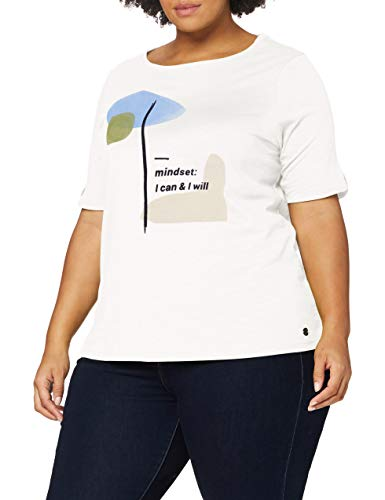 TOM TAILOR MY TRUE ME Damen Print T-Shirt, 10315-Whisper White, 48