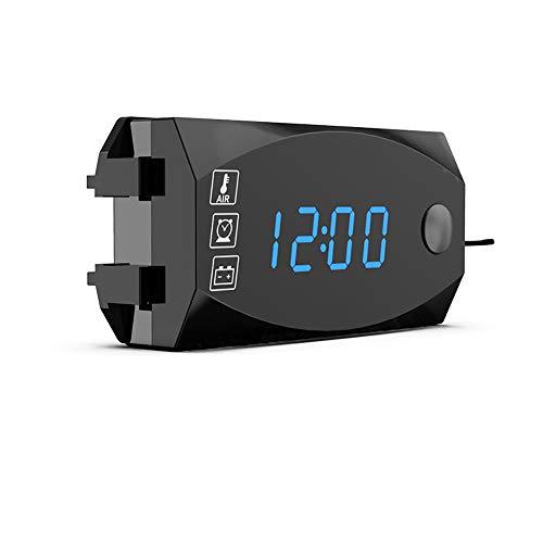 Houkiper Misuratori Display Digitale a Led Per Moto, 3 in 1 Voltmetro Orologio Termometro Indicatore Pannello Misuratore 12v