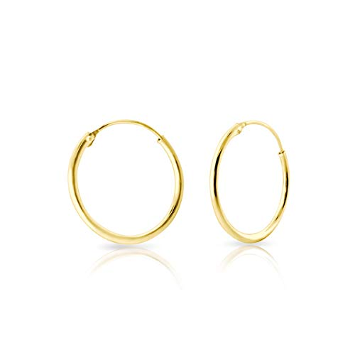 DTPsilver 925 Sterling Silver Yellow Gold plated MEDIUM Hoops/Sleepers Earrings - Thickness 1.2 mm - Diameter 30 mm