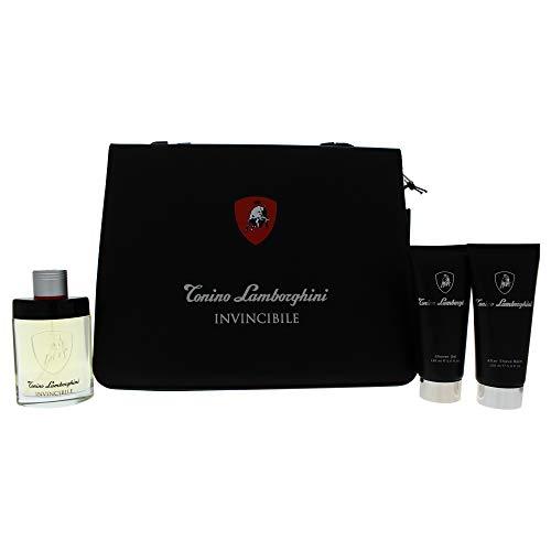Tonino Lamborghini Invincibile • GESCHENKSET im Ordner-Portefeuille für Herren: Duftwasser 125 ml (4.2 fl.oz.) + Duschgel 150 ml + After Shave Balsam 150 ml