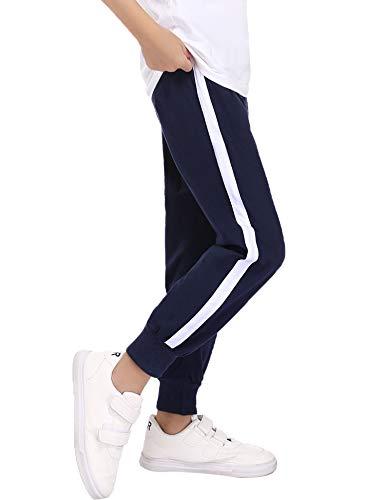 Irevial Pantaloni Sportivi Bambini,Pantaloni Tuta 100% Cotone da 6 ai 14 Anni Ragazzo, Casual Pants con Elastico in Vita con Coulisse e Tasche,per la Scuola/Corsa/casa,Blu