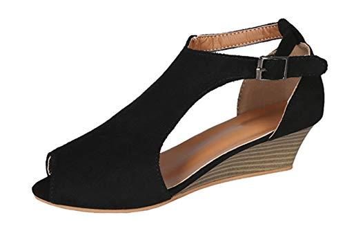 High Heel Sandaletten Damen Riemchen Pumps,Römer Sandalen Weiblich, Keilabsatz Mund Große Damenschuhe, 36, Schwarz