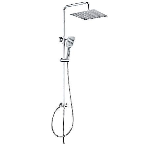 OUNUO Duschsystem mit Kopfbrause 30 x 30 cm, Eckig Regenduschset aus Edelstahl, 3 Strahlarten Handbrause und Höhenverstellbar Duschstange für Bad