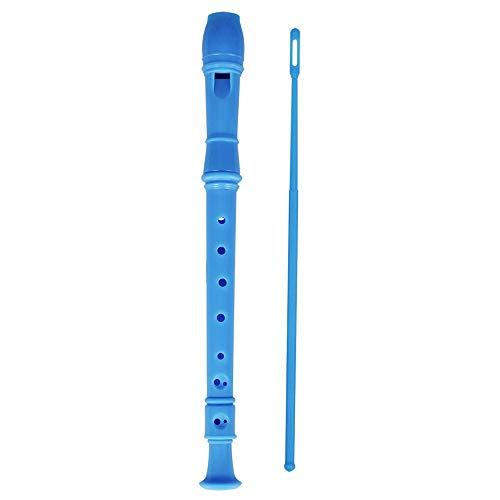 Muslady Sopran Blockflöte Abs Diskant Klarinette 8 Löcher C Taste Deutscher Stil mit Grifftabelle Reinigungsstift zum Kinder Anfänger (Blau)