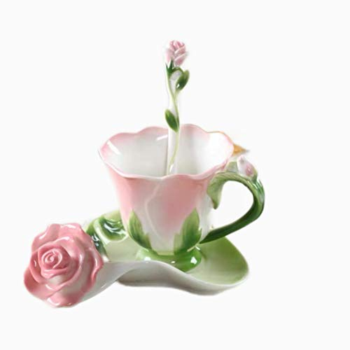Tazas Cerámica Café Creativo 3D Forma De Rosa Flor Esmalte Cerámica Café Taza De Té Y Platillo Juego De Cuchara Taza De Agua De Porcelana Regalo Del Día De San Valentín