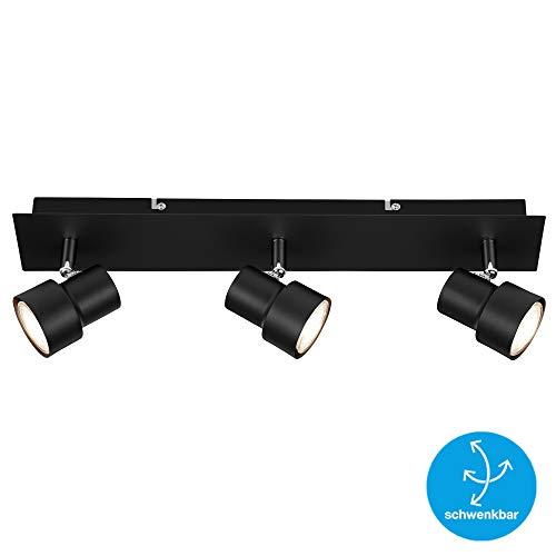 Briloner Leuchten LED plafondspot, plafondlamp 3-spots, schijnwerper draai- en zwenkbaar, 3x GU10, 5 Watt, 460 lumen, 3.000 Kelvin, zwart